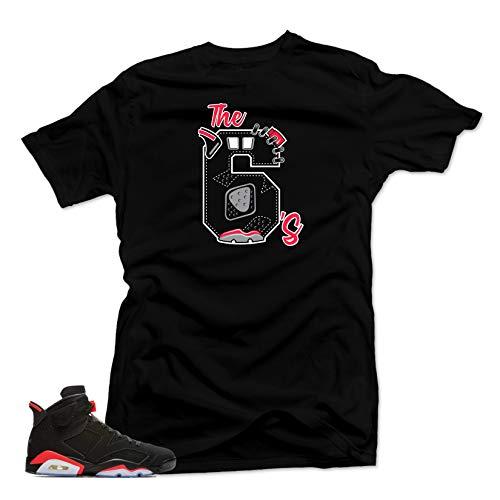 SNELOS Shirt to Match Jordan (Jordan Retro 6 Black Infrared The 6's Shirt (Black), 3XL)