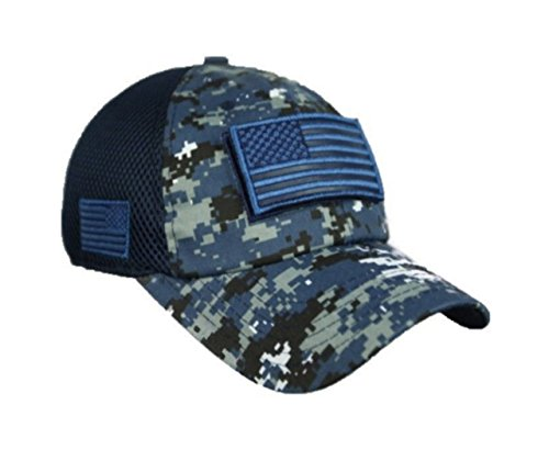 - 90210 Wholesale USA American US Flag Baseball Cap Patch Trucker Tactical Army CAMO Hat Hunting (Digital Navy Camo)