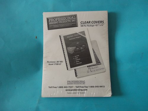 Professional Binding Covers Inc. # 17100-07 Clear Covers 100 Per Package 8 1/2'' x 11'' .007 Mil by Professional Binding Covers Inc.
