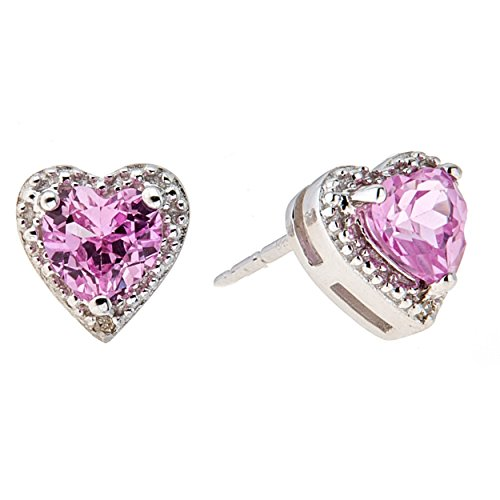 - Lavari - 1.10 cttw Heart Pink Sapphire Diamond Accent Sterling Silver Stud Earrings