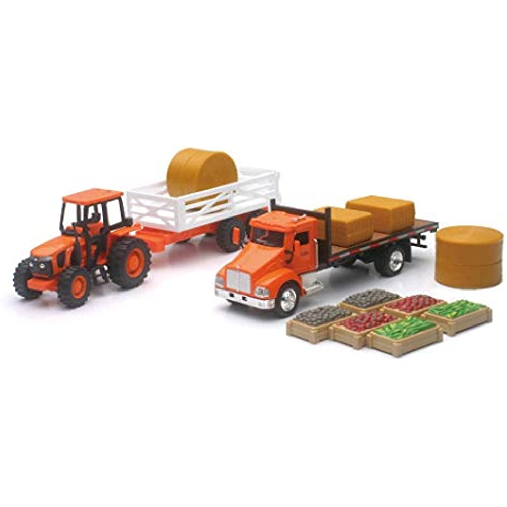 Kubota Farm Playset with M5 Tractor Truck Trailer Bales Crates 1:43 New Ray Toys