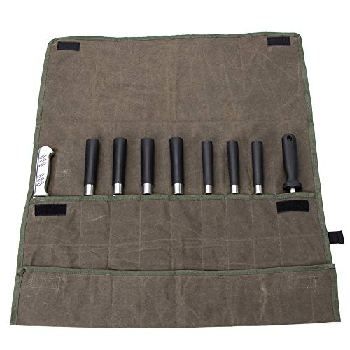 Chef's Knife Roll Case Bag(9 Slots),Waxed Canvas Cutlery Knives Holders Protectors,Cook's Knife Carrier Holder Stores 9 Knives Easily Carried By Hand Strap CYGJB526