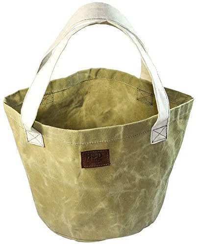 Large Durable Water Resistant Round Bucket/Market/Beach/Tote Bag by Hide & Drink :: Waxed Canvas