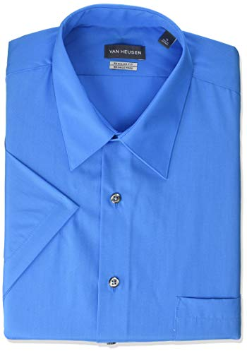 - Van Heusen Men's Dress Shirts Short Sleeve Poplin Solid, Clear Water/Blue, 16