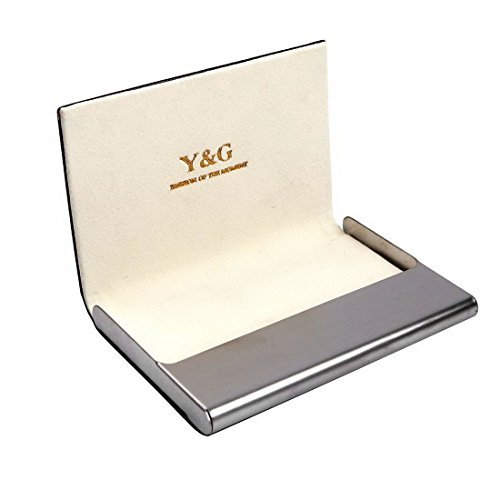 Beige business card holder discount gift Black Stainless Steel Y&G Artificial leather card holder with gift box CC1001