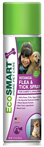 Tick Home Killer Spray (EcoSMART Organic Carpet and Upholstery Flea and Tick Killer, Best Pet Safe Insecticide, 15 oz Aerosol Spray Can )