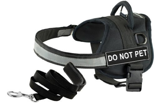 Dean and Tyler Bundle One DT Works Harness, Do Not Pet, Large (34-Inch, 47-Inch) with One Matching Padded Puppy Leash, 6-Feet Stainless Snap, Black by Dean & Tyler