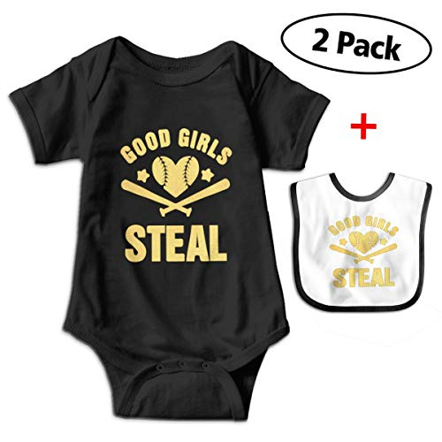 s Steal Funny Softball Baby Bodysuits Short Sleeve Infant Onesies with Baby Bib ()