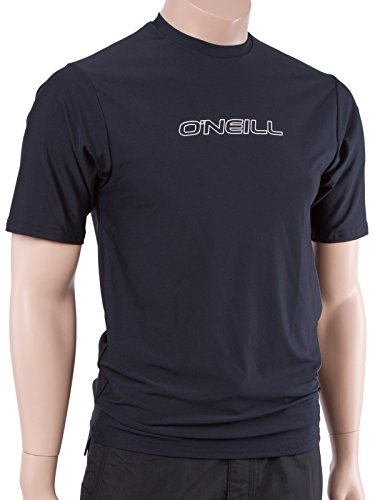 O'Neill Wetsuits UV Sun Protection Mens Basic Skins Short Sleeve Tee Sun Shirt Rash Guard, Black, Small