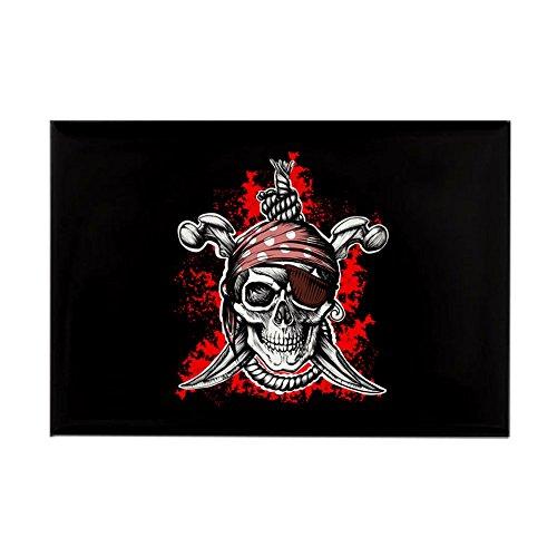(Rectangle Magnet Pirate Skull Swords Eyepatch)