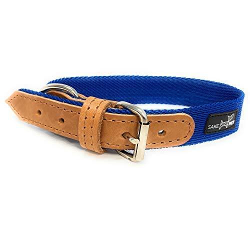 Sake Pet Nylon & Leather Dog Collar with Dog Tag and Fun Paw Print Design, Adjustable Collar, Ocean Blue, Medium