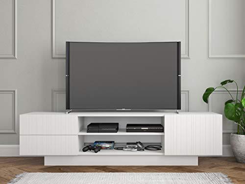 (Nexera 115403 Marble, White 72-inch TV Stand, White Matte Lacquer and White Melamine,)
