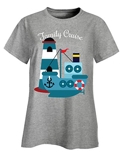- Family Cruise Vacation Multi Generational Vacation Design for Parents Kids - Ladies T-Shirt Ash Grey