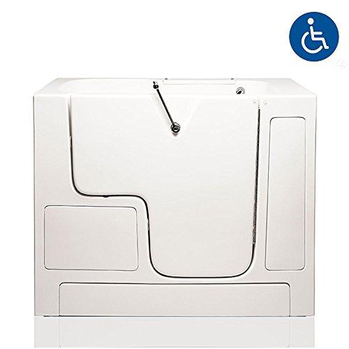 """American Tubs LOVE3252W 32"""" x 52"""" Air Massage Wheelchair Accessible Soaker Walk-in Bathtub - Right Drain (White)"""
