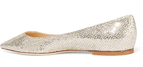 Gold Leisure Flat Women's Glitter Toe Pointed TDA Comfort Shoes pvx8wBn
