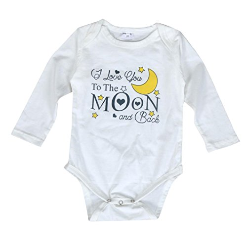 Ecosin Newborn Infant Baby Letter Moon Print Romper Jumpsuit Outfits Clothes (18Months, White)