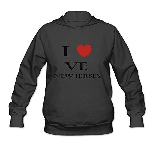I Love New Jersey Joke 100% Cotton Black Long Sleeve Hoodie For Girls Size L