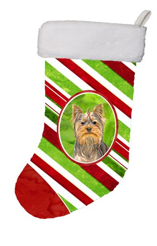 Caroline's Treasures Candy Cane Holiday Christmas Yorkie/Yorkshire Terrier Christmas Stocking, 11 x 18