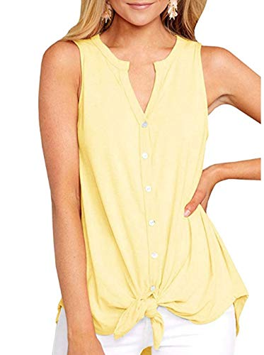 - GHrcvdhw Womens Pure Color Sleeveless V Neck Button Shirts Tie Front Knot Henley Tops Loose Blouses Yellow
