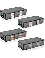 Under Bed Storage Bag Underbed Storage Containers 4-Pack Large for Seasonal Clothes Comforters Sheets Blankets Grey