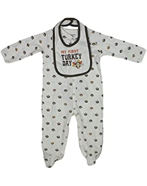 Carters Boys/Girls 2-Piece My 1st Thanksgiving Sleeper & Bib Set 9 Months White