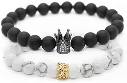 POSHFEEL 8mm Black Matte Agate & White Howlite Stone CZ Crown King Beads His and Hers Couple Bracelet, 7.5