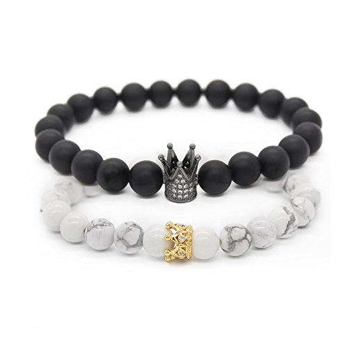 POSHFEEL 8mm Black Matte Agate & White Howlite Stone CZ Crown King Beads His and Hers Couple Bracelet,7.5