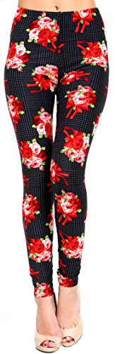 VIV Collection Plus Size Printed Brushed Leggings (Red Rose - Red Collections Rose