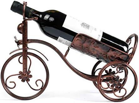 LEEleegang Vintage Metal triciclo forma vino tinto titular Art Bike Rack exhibición barra de almacenamiento