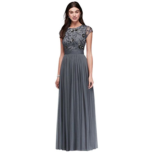Beaded Cap Sleeve Mother Of Bride/Groom Dress With Tulle Skirt Style WGIN0434.