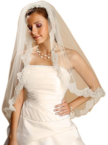 Mariell Women's 109V Beautiful Mantilla Lace Wedding Veil Threaded with Silver Chain - Ivory