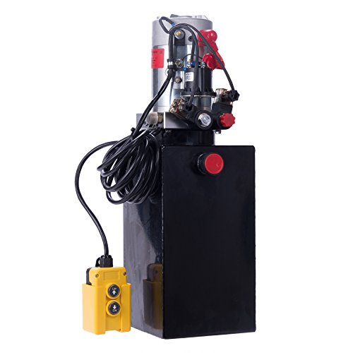 CO-Z Hydraulic Pump for Car Lift, Double Acting Hydraulic Power Unit for Dump Truck Dump Trailer with Steel Reservoir, Double Hydraulic Cylinder of 12V Power Supply & 10 Quart