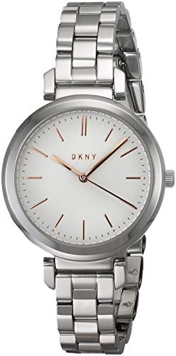 DKNY Women's Ellington Analog-Quartz Watch with Stainless-Steel-Plated Strap, Silver, 13 (Model: NY2582) ()