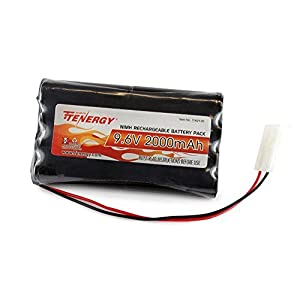 Tenergy 9.6V NiMH Battery Pack with Standard Tamiya Connector for RC Car, Robots, Security, 2000mAh High Capacity RC Battery Pack, Rechargeable Toy Pack