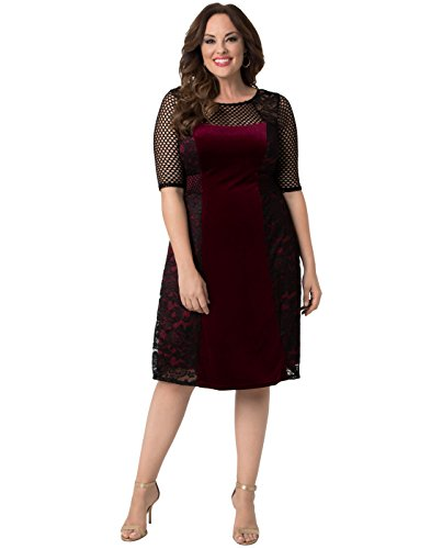 Kiyonna Women's Plus Size Mixed Lace Cocktail Dress 1X Black Lace with Bordeaux - Velvet Fabric Bordeaux