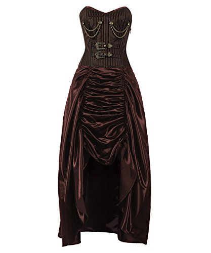 Spiral Boned Steampunk Corset Dresses with Hanging Chain & Buckle-2XL ()