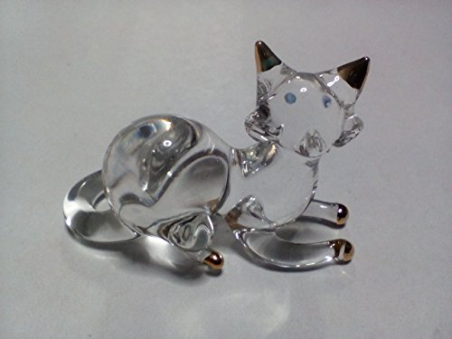 M$M shop Miniature Blown Glass cat Handmade Animal Colorful Cute Decoration
