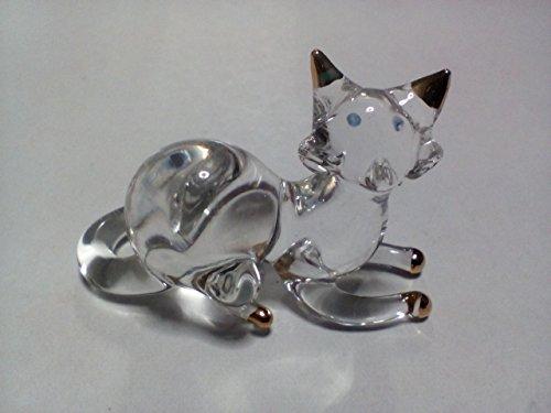 Cat Up A Tree Costume (M$M shop Miniature Blown Glass cat Handmade Animal Colorful Cute Decoration)