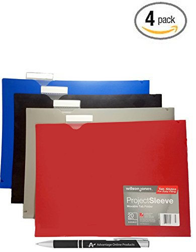 4 Pack Poly Project Folders, Horizontal Document Holders, Copy Safe, Water and Scratch Resistant, 1 of Each Color Black, Blue, Gray and Red. Bonus AdvantageOP Pen Included.
