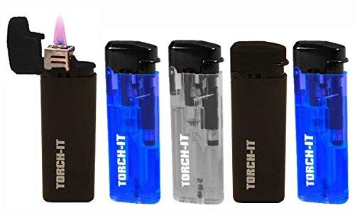 5 Pk Spark Torch-It Turbo Windproof Refillable Adjustable Butane Torch Lighters (Spark Butane Lighter)