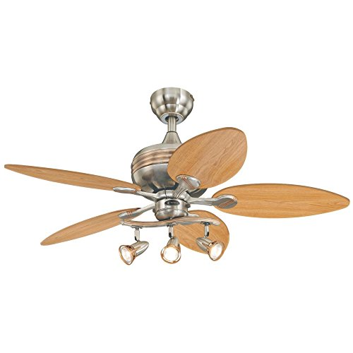 Westinghouse Lighting 7226520 Xavier 44-Inch Five-Blade Indoor Ceiling Fan with Three Spotlights, Brushed Nickel with Copper Accents