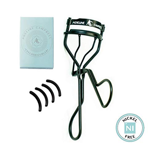 (Nickle Free Eyelash Curler with FOUR Refill Pads | Black Stainless Steel - Hypoallergenic for Sensitive Eyes- Won't Tug or Pinch! Made for all eye shapes and lash lengths!)