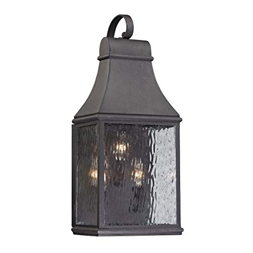 "ELK Lighting 47072/3 Forged Jefferson Collection 3 Light Outdoor Sconce, 22 x 9 x 7"", Charcoal"