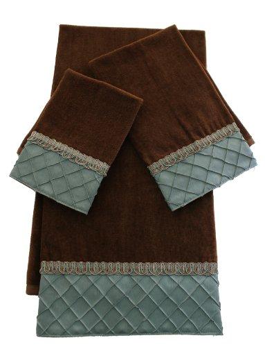 Sherry Kline Pleated Diamond 3-Piece Decorative Towel Set, Brown/Blue ()