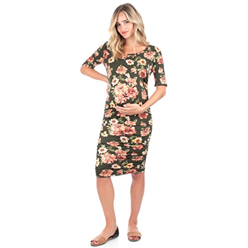 Mother Bee Women's Ruched Maternity Dress Made in USA, Green, Size Large by Mother Bee