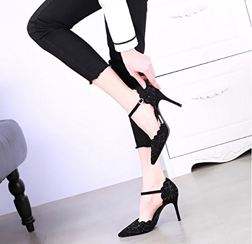 High One 36 Word Heel Black Heel Leisure Water Work MDRW Lady Fine Shoe Spring Buckle Shoes Elegant Fashion Sexy Single Drill 9Cm Zw4gY