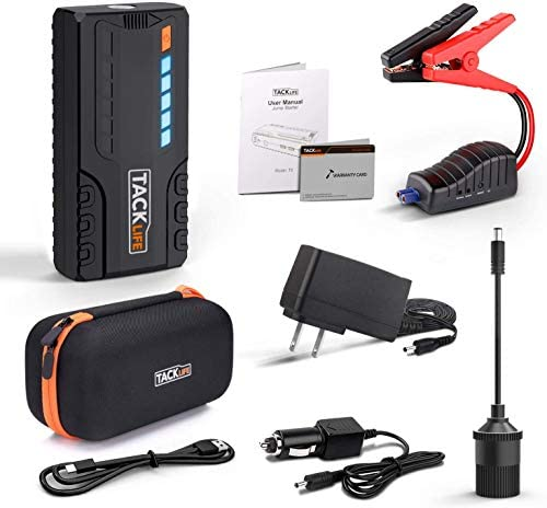 TACKLIFE T6 800A Peak 18000mAh Car Jump Starter (as much as 7.0L Gas, 5.5L Diesel Engine) with Long Standby, Quick Charge, 12V Auto Battery Booster, Portable Power Pack for Cars, Trucks, SUV