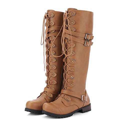 Knee Shoes Buckle Decor Up BrownA Lastnight Women Boot Yellow Lace Rivet High Fashion wEOqHv
