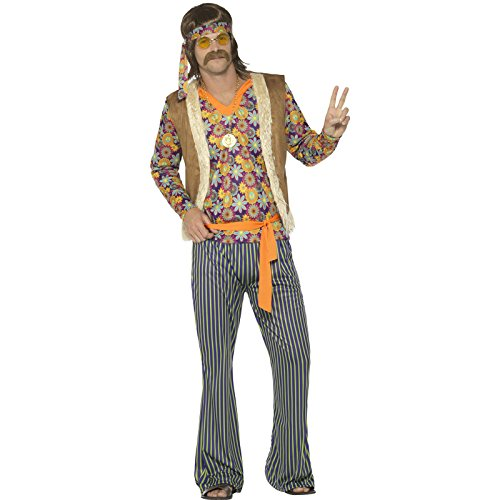 Costumes 60s (Smiffy's Men's 60s Singer Costume, Male, with Top, Waistcoat, Multi, Large)