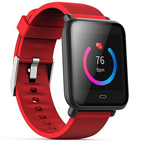 Sport Smart Watch 15 Days Work Message Display Multi Sport Model Heart Rate Waterproof Women Men Smartwatch for iOS Phone,Red,with Box